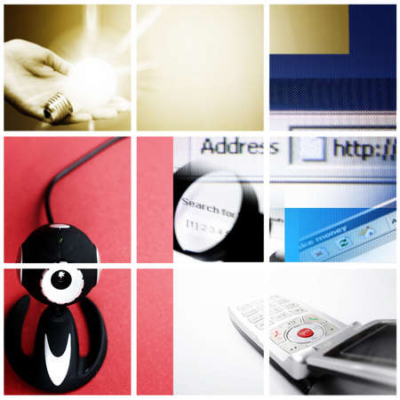 Colorful communication collage made great photographs. Square shape. Stock Photo - 9454133