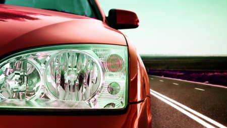 ford: Snelle auto op de weg. Stockfoto