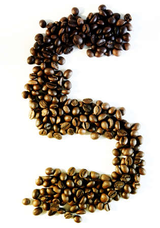 numerology: Numbers made from coffee beans Stock Photo