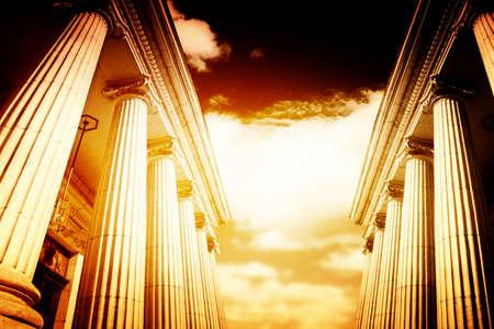 고대: 큰 그리스어 freestone 열 그림입니다. 스톡 사진