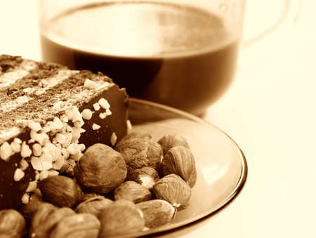 Almond cake with chocolate stuffing photo