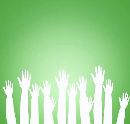 Lots of hands up, at a party. Isolated Stock Photo - 12526672