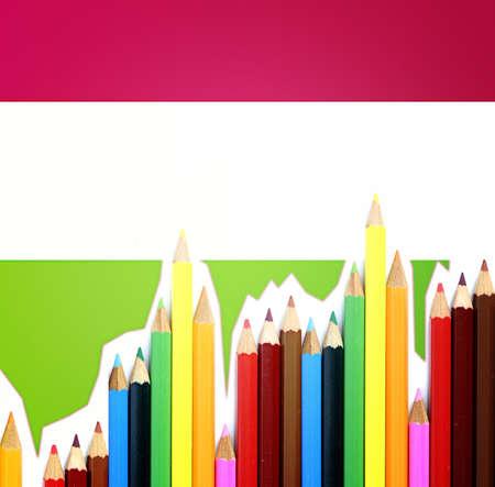 Close-up picture of color pencils assortment. photo