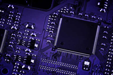 Electronic circuit board. Macro photo. Great details ! photo