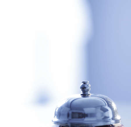 reception hotel: Close up photo of a bell in a hotel Stock Photo