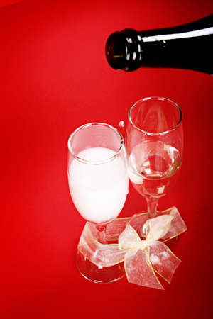 New year party with champagne glasses photo