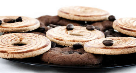 Sweet cookies with coffee grains. photo