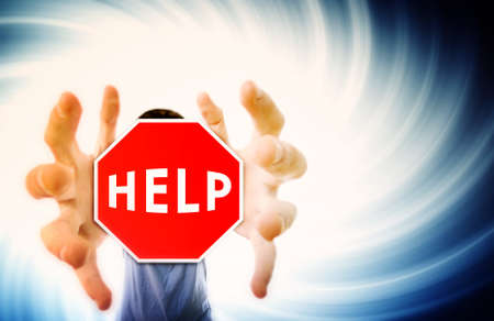 Man grabing a help sign.Distortion effect