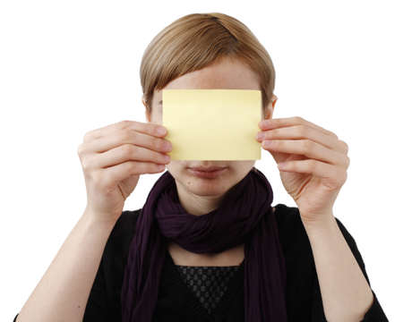 Woman in black and post it Stock Photo - 18029529