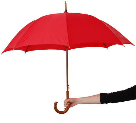 handle: Big umbrella, isolated on white, hold in hand