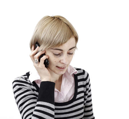 Close up photo of a woman talking on phone. Stock Photo - 19208639