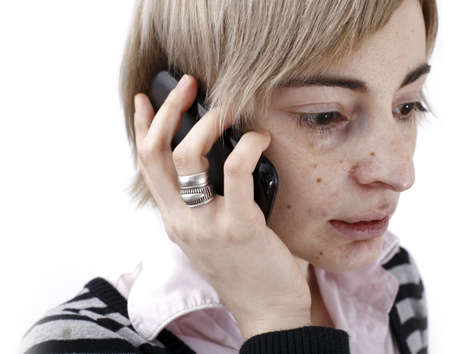Close up photo of a woman talking on phone. Stock Photo - 20280394