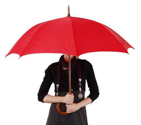 Woman with big umbrella, on white photo