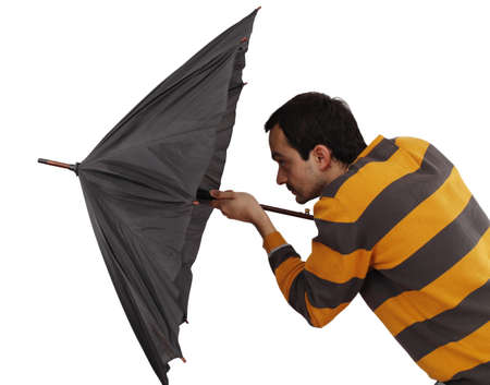 Man with big umbrella, on white photo