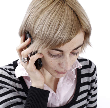 Close up photo of a woman talking on phone. Stock Photo - 21388733