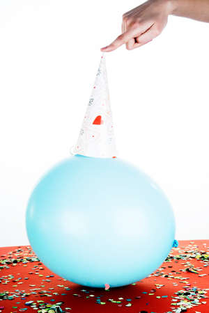Party design with ballons, crest and confetti. photo