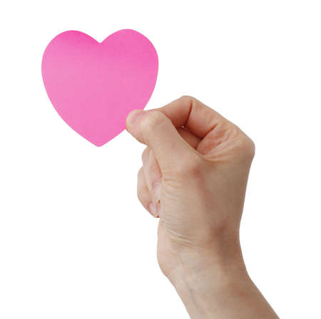 Heart shape note and a Woman photo