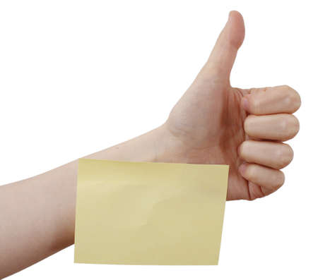 One post it in a woman hand photo