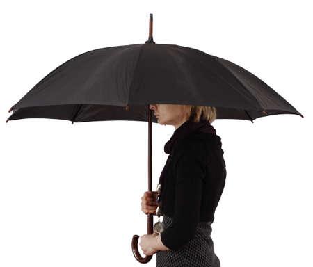 Woman with big umbrella, on white