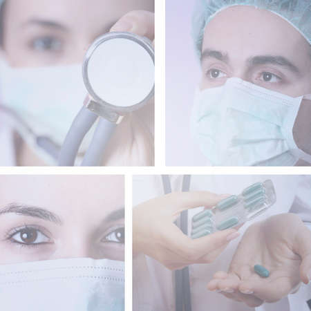 Professional young doctors at work. Collage. photo