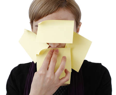 Woman in black and post it photo