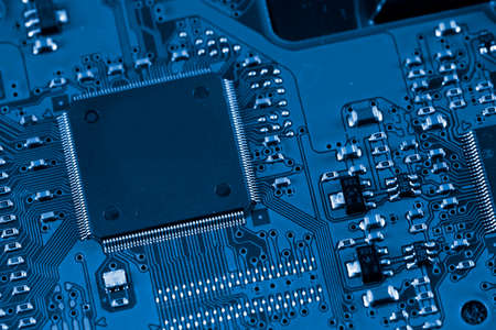 main board: Electronic circuit board. Macro photo. Great details !