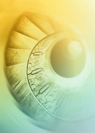 sisyphus: Very old spiral stairway case Stock Photo