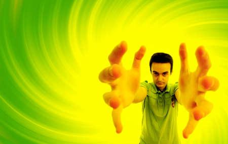 exertion: Man reaching something. Distorting effect