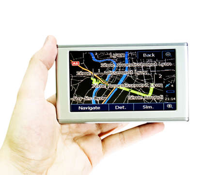 find your way: Gps in a man hand. Find your way ! Stock Photo