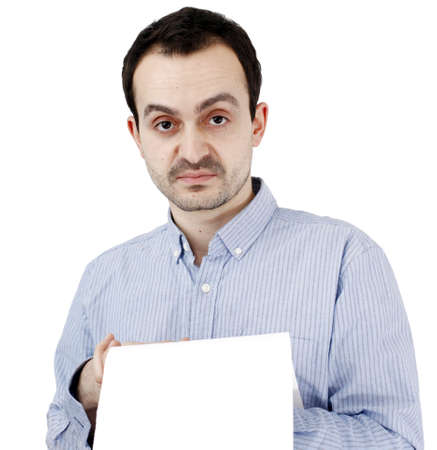 Young man holding a blank piece of paper photo