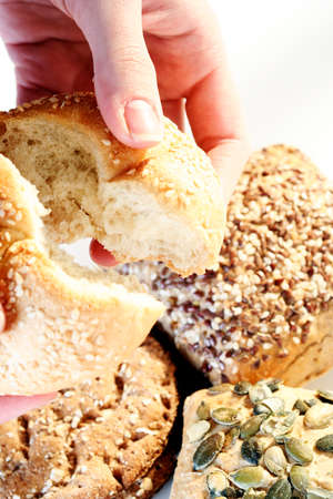 pone: Assortment of baked bread with seeds