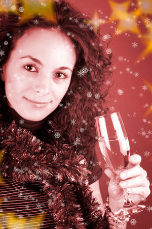 Woman drinking champagne . Happy new year! photo