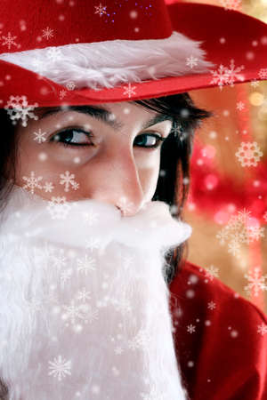 Beautiful woman dressed in santa clause costume. photo