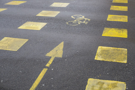 markings: Yellow road markings showing bicycle path