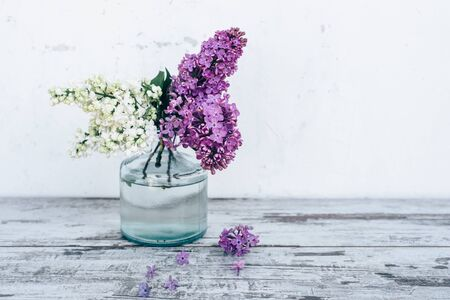 glass vase: Branches of lilac in transparent glass vase on vintage wooden table with white background