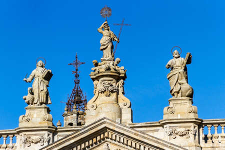 jacobean: Sculptural images of saints on the top of Lugo cathedral facade