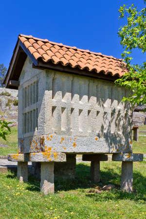 galician: Galician traditional barn in Arosa island