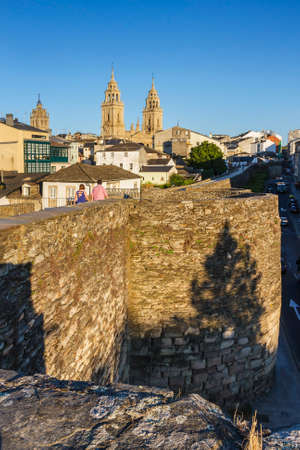 Cathedral and Walk along the romal wall of Lugo.