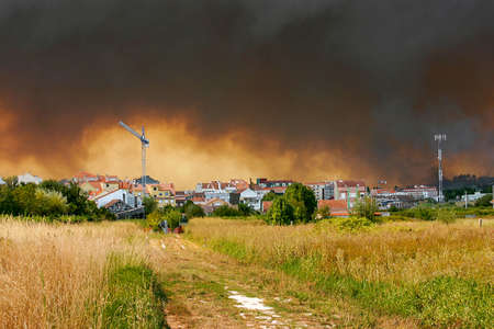 Vilagarcia de Arousa city surrounded by bushfire smoke in summer 2006