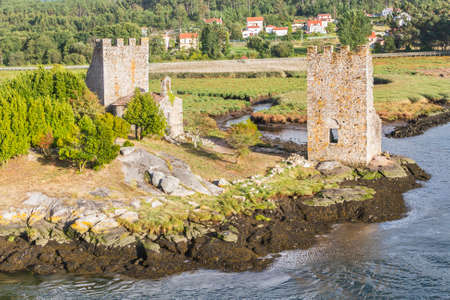 West towers ruins in Catoira for defense against the Viking invasions Stock Photo