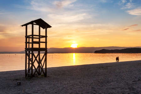Watchtower and rescue at sunset on Compostela beach, Vilagarcia de Arousa Stock Photo