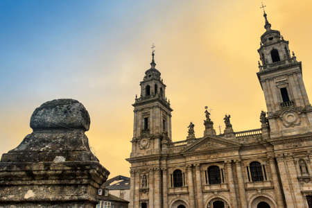 templo romano: Facade and steeples of Lugo cathedral at dawn