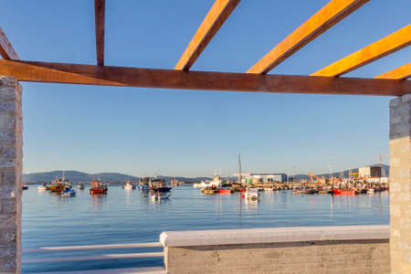 Xufre fishing port in Arousa Island framed between the limits of a pergola