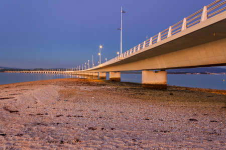 Arousa Island bridge at dusk