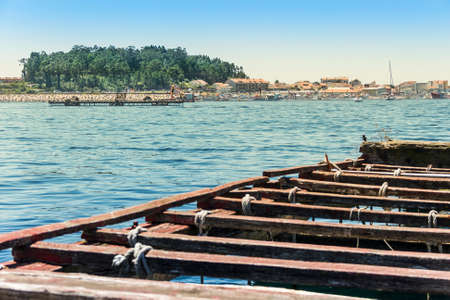 Arousa Island from a mussel aquaculture raft