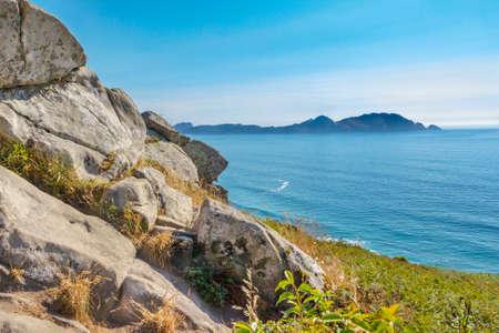 Cies Islands from Donon viewpoint in Vela coast, Morrazo peninsula Stock Photo