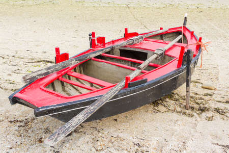Dorna, traditional fishing boat in Galicia, view from top Stock Photo