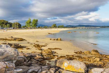 Bao beach with Arousa Island bridge at background Stock Photo