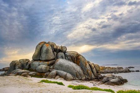 Natural rocky castle of Con Negro rock in O Grove Peninsula Reklamní fotografie