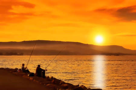 Illustration of two anglers at golden sunset in Arousa estuary
